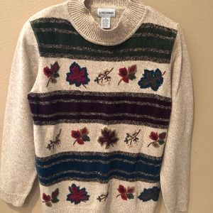 Alfred Dunner Women's Sweater Small Leafs Nice